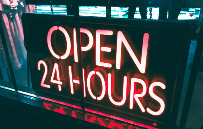 Open 24 hours sign (photo credit Alina Grybnyak)